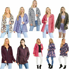 WOMENS LADIES GIRLS RAIN MAC RAINCOAT FISHTAIL KAGOOL PARKA FESTIVAL JACKET COAT