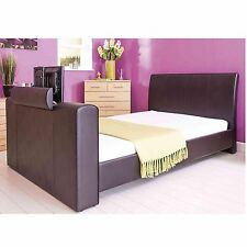 Padded Faux Leather Luxury TV Bed Black Brown or White with built in TV stand