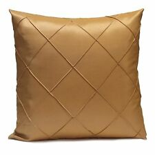 Gold Ocher Silk Decorative Throw Pillow Cover with Geometric Pattern,Toss Pillow