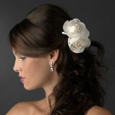 Graceful Twin Gardenia Flower Wedding Bridal Special Occasion Hair Clip