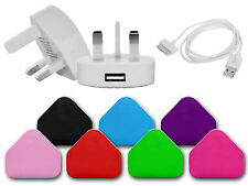USB 3 PIN MAINS PLUG CHARGER SYNC DATA CABLE COMPATIBLE FOR iPHONES 3GS 4 4G 4S