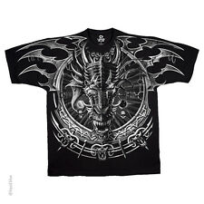 Official Liquid Blue Graphic Dragon Catcher Dark Fantasy Black 2 Sided T-shirt