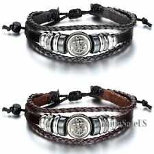 Tribal Pirate Anchor Unisex Adjustable Leather Bracelet Handmade Charm Wristband