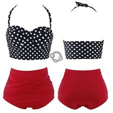 Retro Rockabilly Polka Dot High Waisted 50s Style Bikini Swimsuit B
