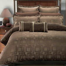 8pc Royal Hotel Collection Brown Duvet Cover with Comforter Bedding Set Janet