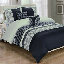 6pc Chelsea Black  Duvet Cover Bedding Set with Pillows and White Comforter
