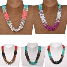 Bohemian New Handmade Long Seed Beads Necklace Collar Layers Pendant Statement
