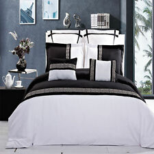 8pc Luxury Duvet Cover Set - Astrid Black & White Embroidered with Comforter
