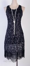 1920's Flapper Party Clubwear Gatsby Abbey Sequin & Tassel Black Dress  AF 3239