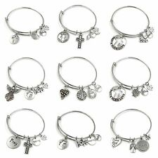 Expandable Wire Bangle Silver Plated Bracelet Charm Spiritual Quotes Group B