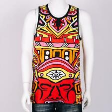 New Men's Imperious Cotton Graphic Tribal Multi Color Print Red Tank Top S - XL