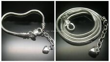 One SET solid 925 silver Unscrew Love Tail European 3mm Snake Bracelet+Necklace
