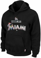 Miami Marlins MLB Majestic Therma Base Hoodie Men's Black Big & Tall Sizes