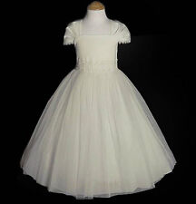 New Tulle Satin Ivory Flower Girl Dress First Communion Pageant Party Christmas