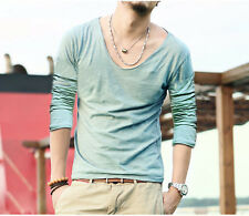Men V Neck Bodybuilding T Shirts Cotton Tee Shirts Solid Undershirt Summer Style