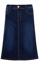 Stretch Denim Knee Length Skirt  - Dark Wash SKIRT99 Womens Jean Midi Pencil