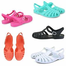 WOMENS GIRLS RETRO STRAPPY LADIES JELLY SANDALS SUMMER BEACH CLOSED TOE SHOES