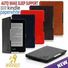AUGUST FOLIO SMART PU LEATHER CASE COVER FOR NEW AMAZON KINDLE PAPERWHITE + DVD