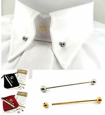 Gold or Silver Tone Shirt Collar Tie Pin/Bar +10 Eyelets 46mm Barbell Ball Ended