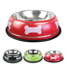 Stainless Steel Pet Dog Bowl Feeding Water Bowl Dish Bone Print Cute for Puppy
