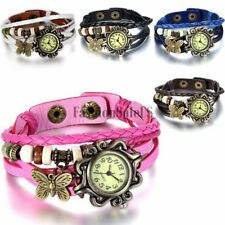Womens Girls Vintage Fashion Butterfly Leather Bracelet Charm Quartz Wrist Watch