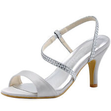 HP1531 Silver Satin Glitter Rhinetones  Sandals High Heels Evening Party Shoes