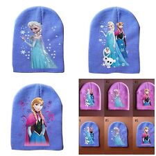 NEW FROZEN LITTLE GIRLS WINTER BEANIE  - ELSA & ANNA & OLAF - PINK or BLUE