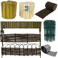 LAWN EDGING GALVANISED LOG ROLL WILLOW PVC COATED PLASTIC BORDER PICKET FENCE