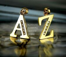 14k Solid Yellow Gold Initial Letter CZ Pendant