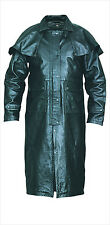 Mens Black Leather Full Length Split Cowhide Motorcycle Duster Trench Coat