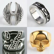 Gothic Mens Skull Cross Lucky 7 Horseshoe Greek Key Stainless Steel Metal Ring