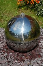 Polished Stainless Steel Sphere Water Fountain Feature LED Lights Yard Garden