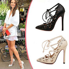 Womens Hollow Lace Up High Heels Shoes Size 3003#