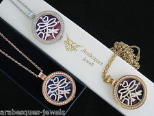 LARGE GENUINE MI MILANO NECKLACE/PENDANT CRYSTAL DRAGONFLY COIN/MONEDA AJMM