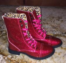 NEW Girls Sz 4 BLUE SUEDE SHOES Fuchsia Patent Glitz Glitter Millie Combat Boots