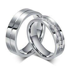 6mm CZ Couple Rings Titanium Steel Lover's Her and His Wedding Promise Band Gift