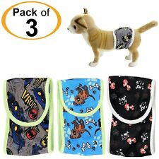 SET - 3pcs Diapers Male BELLY BAND Reusable Washable For SMALL Dogs Patterns #2