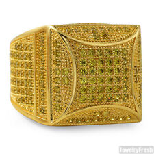 Canary Yellow Fancy Square 360 CZ Micropave Gold Ring for Men