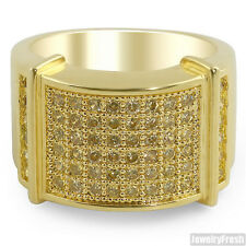 Canary Yellow Lemonade Lab Made Iced Out Mens Gold Ring