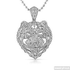 Silver 3D Iced Out Tiger Face Pendant With Chain