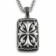 Intricate Celtic Dogtag Oxidized Silver Steel Pendant Necklace Set