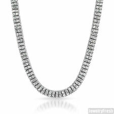 Platinum Tone 2 Row Iced Out Chain Pharoah Hip Hop Necklace