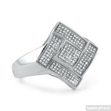 0.30CTW Fancy Genuine Diamond Mens Silver Ring