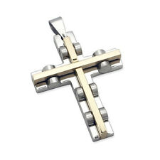 Two Tone Modern Stainless Steel Silver Gold Contemporary Cross