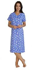 Slenderella Cotton Blend Floral Print S/Sleeve Nightdress Blue or Red 10 to 22