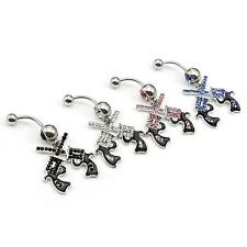 2Pcs Charming Stainless Steel Navel Belly Rings Dangle Body Piercing Jewelry