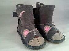 NEW Skechers Kids Cuddlicious Grey Bear Winter Boots Size 5 or 9 Toddler Suede
