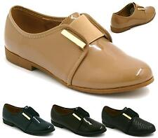 WOMENS LADIES SMART SCHOOL WORK OFFICE FORMAL FLAT LOAFERS SHOES SIZE