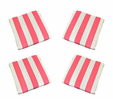 Set of 4 In / Outdoor Foam Seat Cushions Hot Pink White Stripe - Choose Size