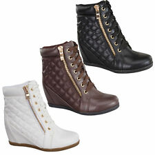 New Girl's Comfort Hidden Heel Wedge Lace Up Ankle Quilted Sneaker Booties Shoes